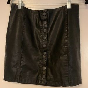 Free People Button Leather Skirt